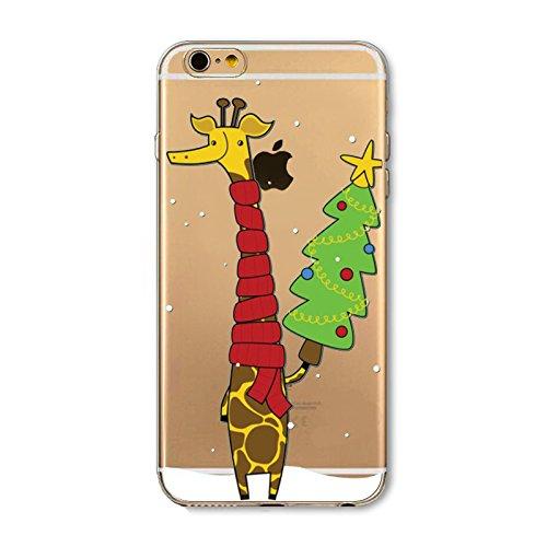 Weihnachten Hülle für iPhone SE 5SE 5 5S MOONMINI Ultra Dünn Weihnachten Dekoration Weiche TPU Silikon Full Body Schutz Rückseite Transparent Schutzhülle Shell für iPhone SE 5SE 5 5S Santa Claus Giraffe