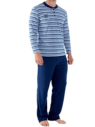 Harvey James Herren Schlafanzug Blau Gestreift