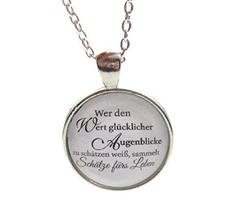 schmuck-stadt Wer den Wert glücklicher Augenblicke ... - Cabochon Kette silberfarben (Wert Stadt)