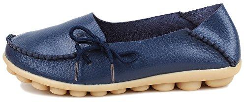 Kunsto Loafer Flats, Mocassin Femme Med.navy