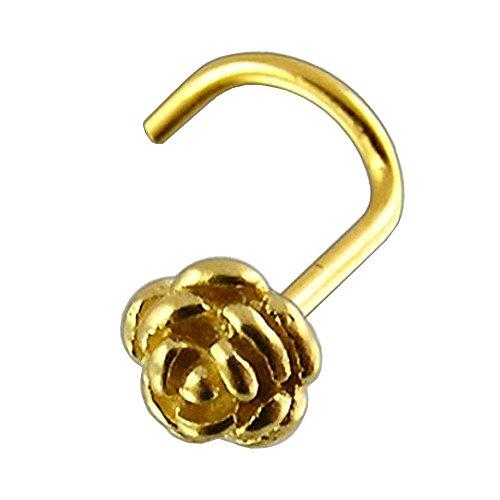 Nasen-Piercing Schmuck Stecker 585er Gelbgold Rose