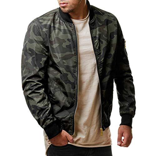 Herren Herbst Winter Casual Camouflage Reißverschluss Langarm Jacke Mantel Top Bluse-Modern-Slim Fit -Cross-Over-Kragen -Outdoorbekleidung Oberteile-Sweatjacke Pullover Langarmshirts(Army Green,4XL)