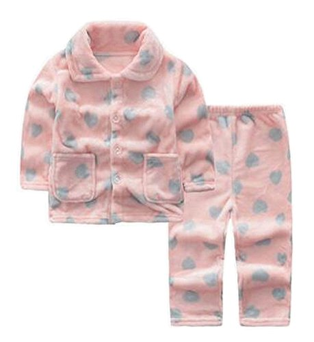 Herz Flanell Kinder Pyjama weiche Sleepsuit Coral Velvet Nachtwäsche Nightcloth (Herz-flanell-pyjama)