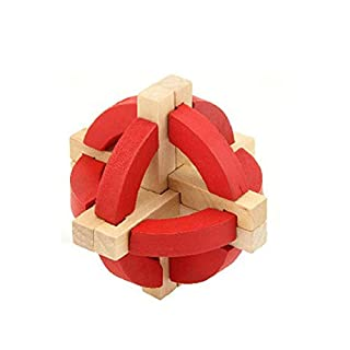 yibenwanligod Wooden Block Luban Kong Ming Lock Adult Kids Brain Teaser Puzzle Educational Toy - Red
