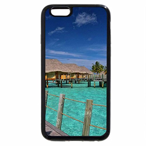 iPhone 3S/iPhone 6Coque (Noir) Aqua Bleu Lagon Bora Bora