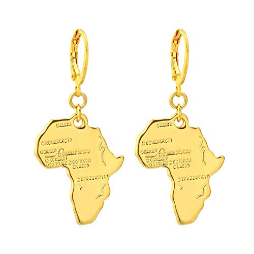 a623ffc98532 Pendientes Joyería Jewelry,Africa Map Pendant Earrings For Women Men Gold  Color Ethiopian Jewelry African Cards Hip-Hop Drop Earrings Party Gift