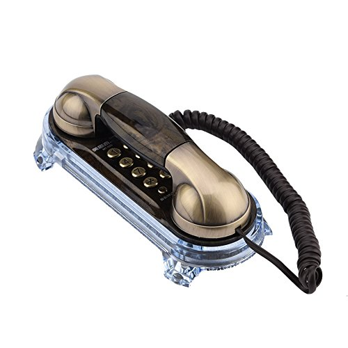Fosa Antikes Retro- an der Wand befestigtes Telefon schnurgebundenes Telefon-Festnetz-Mode-Telefon Anruf für Haupthotel,Wohnung,Zimmer(Bronze) (Wand-schnurlos-telefon)