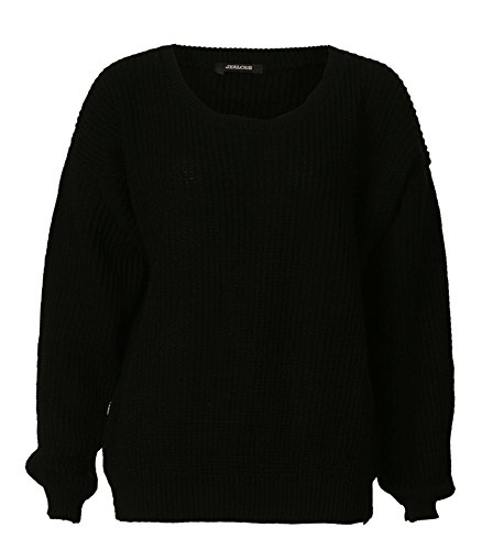 Fast Fashion - Pull Tricot Manches Longues Ample - Femme Noir