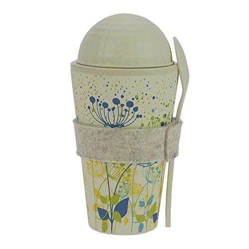 ebos Müsli-to-Go Becher aus Bambus | Müslibecher, Müslischale, Joghurtbecher | wiederverwendbar, umweltfreundlich, spülmaschinengeeignet, Verschiedene Designs (Pusteblume)