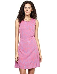 A Line Dresses for Women - Pink Crepe A-Line Dress for Women (Party_Wear_ Western_Dress)