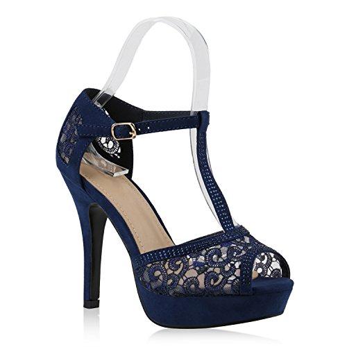 Damen Plateau Sandaletten Strass High Heels Metallic Sandalen Stiletto Abend Spitze Schuhe 143487 Dunkelblau Cabanas Spitze 38 | Flandell®