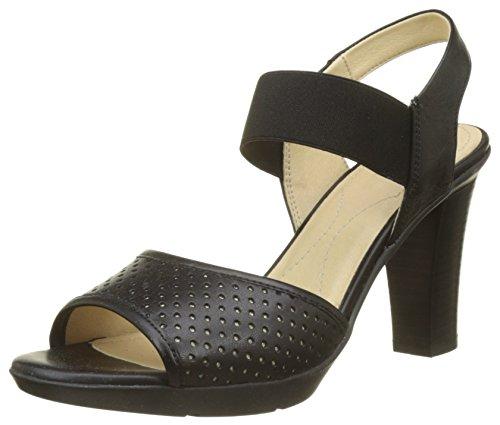 Geox Damen D JADALIS C Peeptoe Sandalen, Schwarz (Black), 41 EU Black Patent Leather High Heel