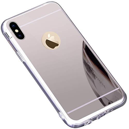 Tifightgo iPhone X/Xs Hülle Silber,iPhone Xs/X Spiegelhülle,Mirror Case Ultra Dünn Überzug Glitzer Strass Soft TPU Silikon Crystal Clear Durchsichtige Handyhülle für Apple iPhone X/Xs 5,8 Zoll