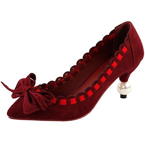 Visualizza storia Sexy arco rosso vino Increspature donne punta Toe tacco perla squisita Abito pompa, LF60409 Vino rosso