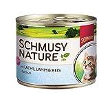 Schmusy Katzenfutter für Kitten Lachs & Lamm 190 g, 12er Pack (12 x 190 g)