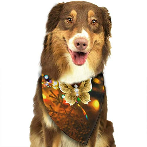 Butterfly Net Insect Gold Clip Art Fashion Dog Bandana Pet Accessories Easy Wash Scarf