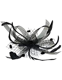 Pretty Cool - Feather & Black Bow Fascinator