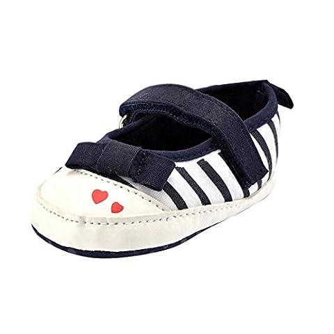 kingko® Chaussures bébé nouveau-né Les enfants adorent les filles Stripe bowknot Chaussures Toddler semelle souple (0 ~ 6 mois, marine)