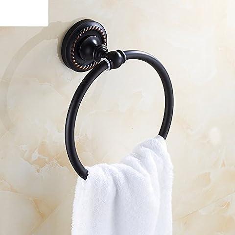 Todo-cobre del anillo Europea toalla que cuelga/anillo de toalla de bronce negro/toallero Ronda/accesorios de