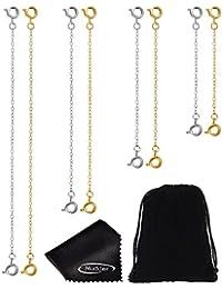 Mudder 8 Pièces Chaîne d'Extension de Bracelet en Acier Inoxydable Collier Extension avec Chiffon de Nettoyage et Pochette à Bijoux, en Argent et en Or