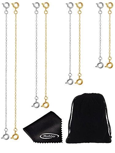 8 Stück Edelstahl Armband Verlängerung Kette Halskette Verlängerung mit Reinigungstuch und Schmuck Beutel, Gold und Silber Farbe Test
