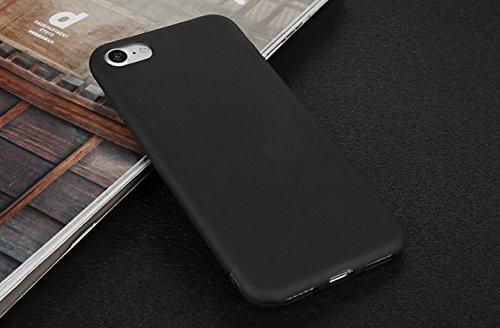 Incendemme Handyhülle für iPhone 7 Plus weiche Dünn Mattglasbirne Schutzschale für iPhone mit Einfarbig Design Handytasche aus TPU Handy Hülle Etui cover case (Rosa) Schwarz