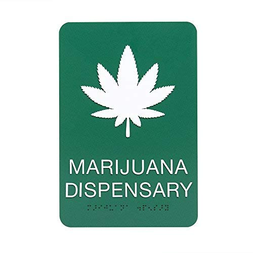 Marijuana Leaf Cannabis dispensaire Sign W/Braille-– Grün