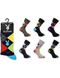 Playboy Lot de 3 paires de chaussettes pour homme Coton majoritaire Motif argyle Taille 39-45