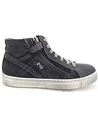 Nero Giardini - Sneakers Alte Bambino Ragazzo in Pelle e Tessuto - Blu  A624000M   A634000M 597290622db