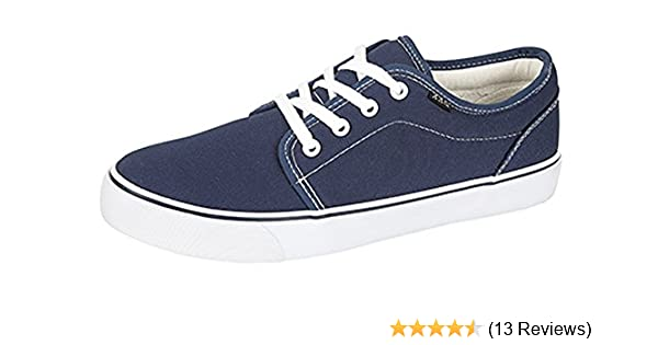 Mens Canvas Trainers Boxed Lace Up Smart Casual Padded Collar Deck Shoes Size