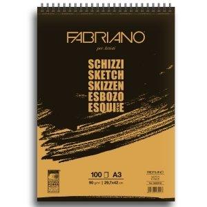 Fabriano - Block-notes con bordo spiralato, formato A3, 90 g