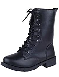 028bbb0d5ff3 ANDAY Cool Black PU Leather Women s Flats Martin Boots Motorcycle Rider  Boots