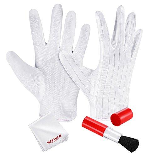 Neewer 3-IN-1 DSLR Kamera-Reinigungs-Kit - 1 Paar Anti-Statik-Handschuhe, Linse Pinsel und Microfaser Reinigungstuch für Canon Nikon Sony Panasonic Olympus Kameras und Kamcorder Objektiv