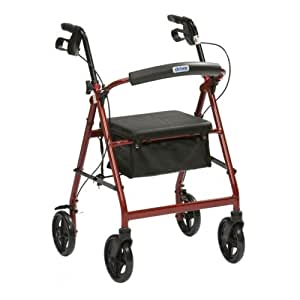 Drive DeVilbiss Healthcare R6 Red Aluminium Rollator with Padded Seat and Vinyl Underseat Bag <7kg