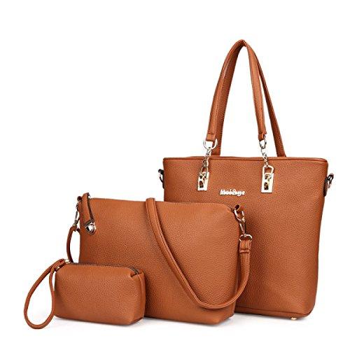 Dame Mode Trend Paket Dreiteilig Handtasche + Schultertasche + Handtasche Chocolate
