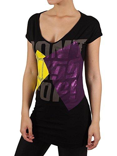 MISS SIXTY Damen T-Shirt in Schwarz-Bunt Größe S