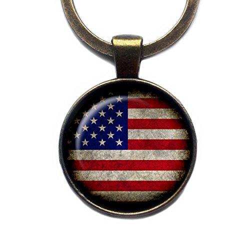 United States of America USA Flag Amerika Flagge Keychain Bronze Schlüsselanhänger