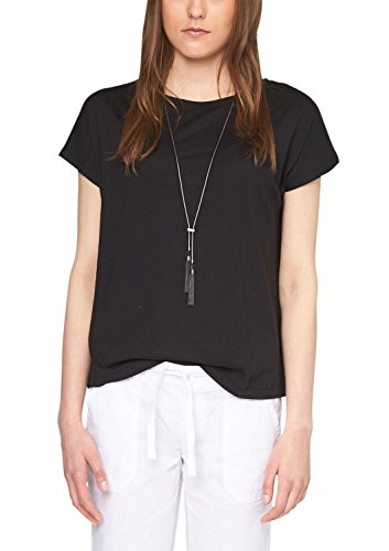 s.Oliver Denim Damen T-Shirt 41.504.32.2281, Einfarbig Schwarz (black 9999)