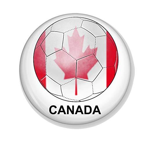 Gifts & Gadgets Co. Kühlschrankmagnet Kanadaian Flag On Football Kanada, klein, Bedruckt, rund, 38 mm