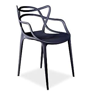 Chaise Courve en Polypropylène -Intérieur / extérieur--Noir-Unique