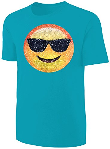 Kinder T-Shirt Wende Pailletten Smiley Sonnenbrille Streichel Shirt Türkis Größe 128