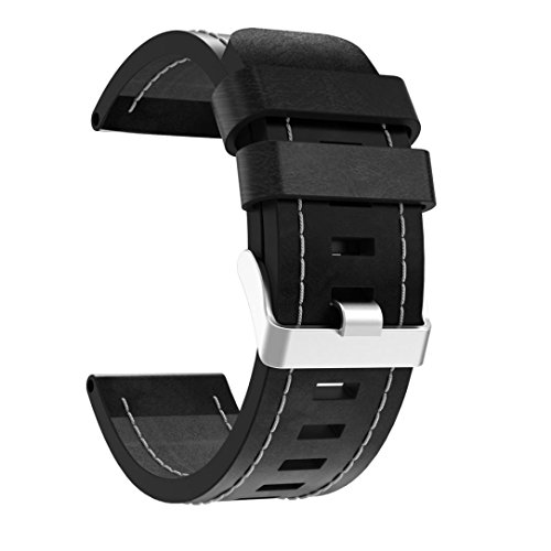 Hunpta Luxuxlederarmband Wiedereinbau Uhr Band mit Hilfsmitteln für Garmin Fenix 5x GPS Uhr (Schwarz)