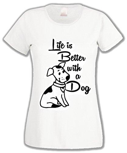 L'Arcobaleno di Luci T-Shirt Donna Life Is Better With a Dog La Vita è Migliore con Un Cane Bianca