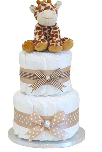 Pastel de pañales unisex jirafa para un baby shower⼁Nappy Cake⼁niño niña recién nacido