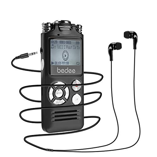 Digitales Diktiergerät, bedee 8GB Digitaler Voice Recorder HD Audio Aufnahmegerät USB MP3 Player mit Doppelmikrofon, Spracherkennung Lautsprecher, One-Touch-Aufnahme für Vorträge Meetings Konferenzen
