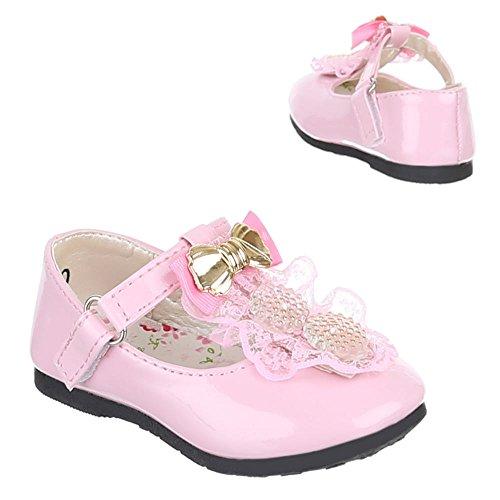Kinder Schuhe, 223-10, BALLERINAS MIT DEKO VERZIERTE Rosa