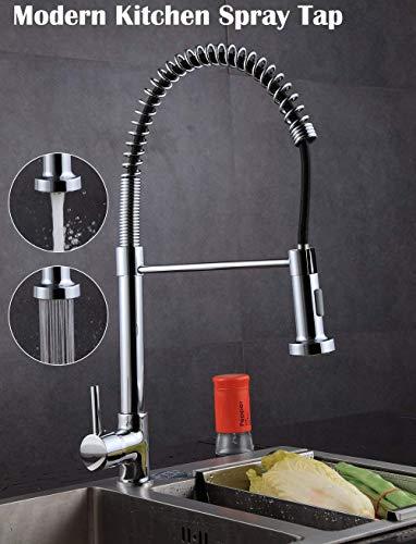 Wzmdd Chrome Monoblock-Küche-Wannen-Mischer-Hahn-Schwenker und Feder Spout Pull Out Hose Spray Einhebelhahn -