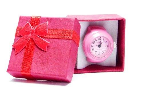 Ringuhr Uhrenring in Geschenkbox, Uhr als Ring, alle Größen universal Grösse in Pink Rosa