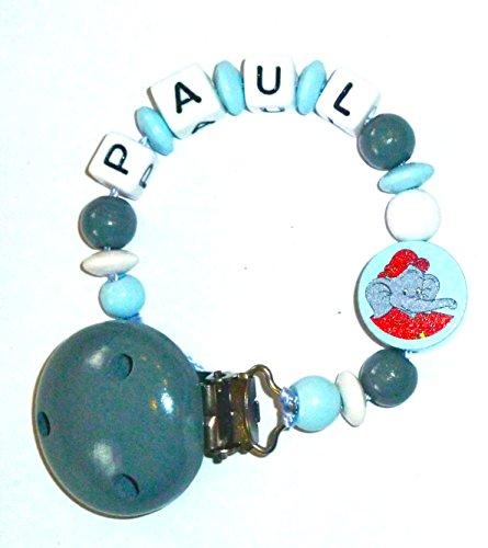 Preisvergleich Produktbild Schnullerkette mit Name Benjamin Blümchen - hellblau/grau