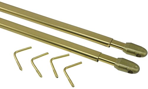 10 astine in metallo dorato, piatte ed estensibili per tendine a vetro (da 40 a 65 cm)